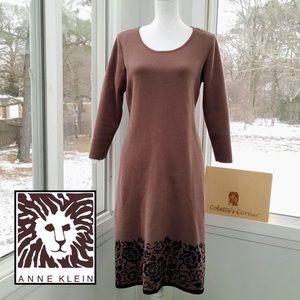Anne Klein Brown & Floral Print Sweater Dress